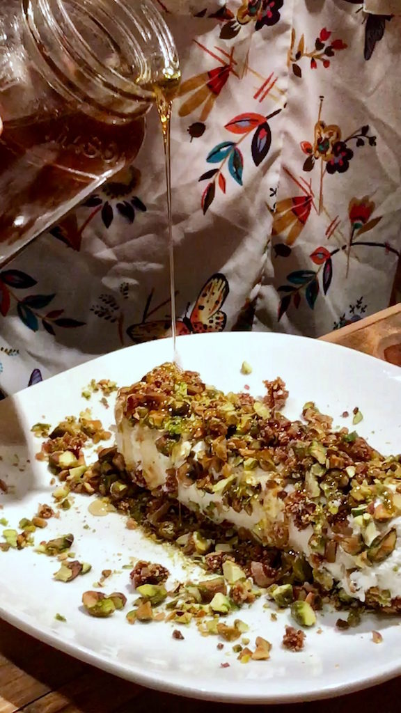 Goat Cheese Log with Honey, Fig and Pistachios